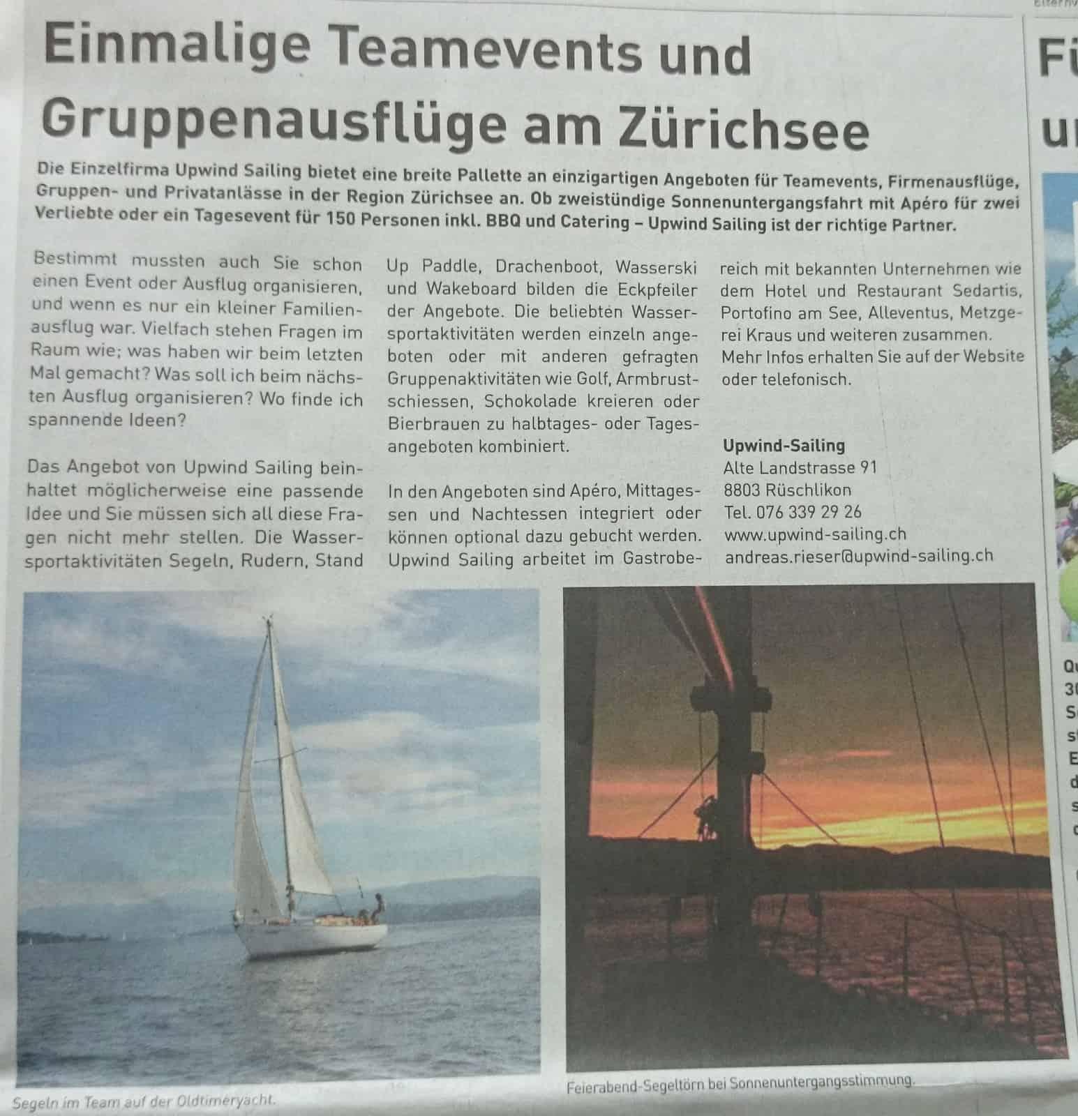 Team Event Zürichsee - Porträt Gewerbezeitung